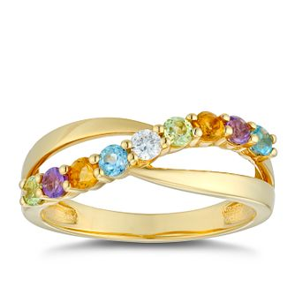 9ct Yellow Gold 0.06ct Multi-Stone Diamond Twist Ring - Product number 5044693