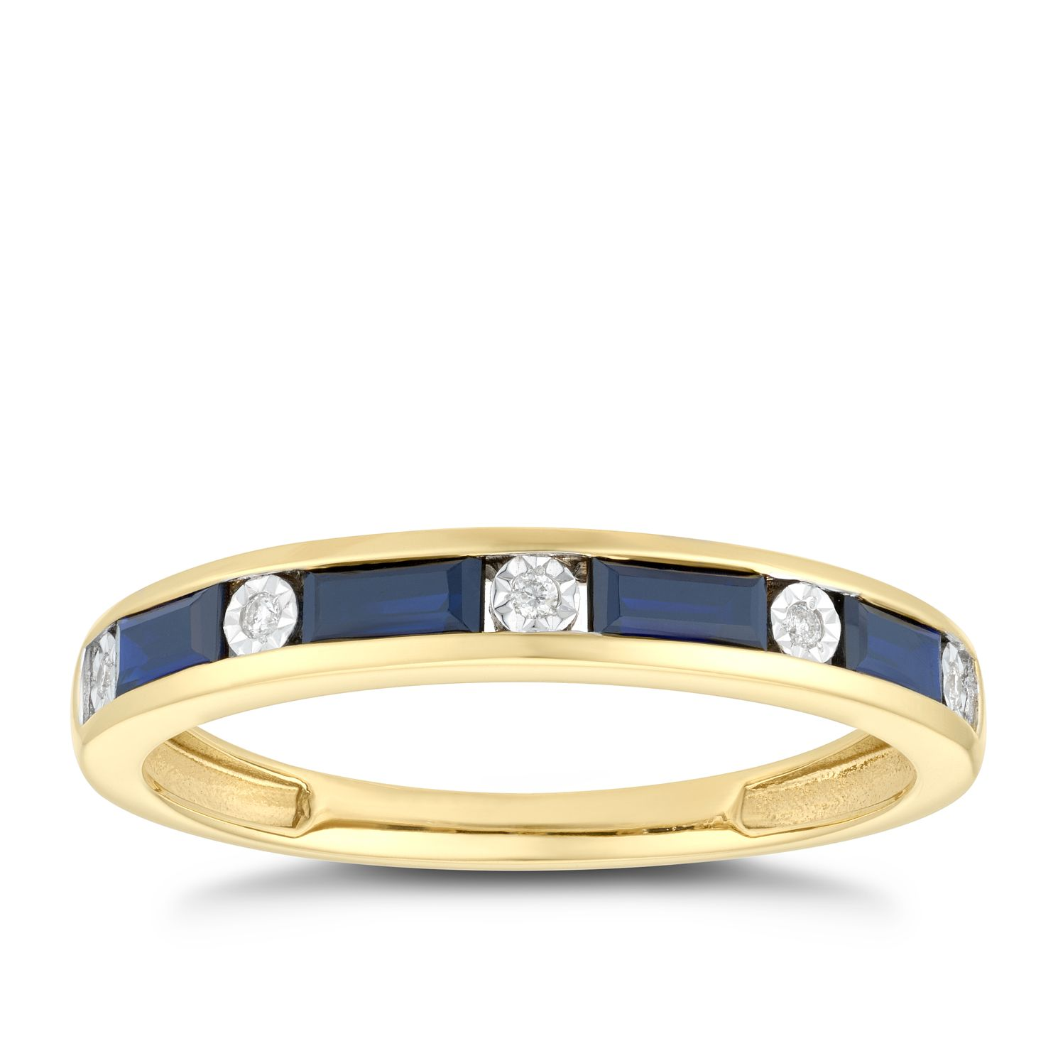 9ct Yellow Gold 0.02ct Diamond Sapphire Eternity Ring - Product number 5045088