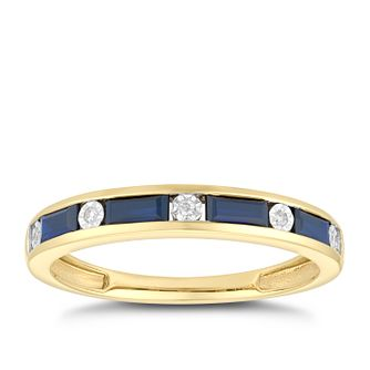 9ct Yellow Gold Sapphire & Diamond Eternity Ring - Product number 5045088