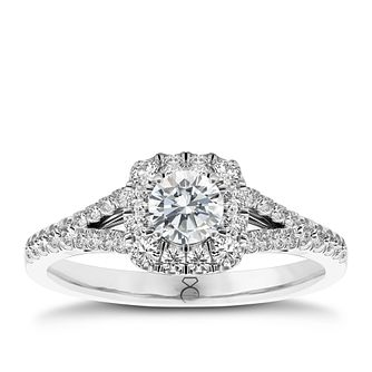 The Diamond Story Platinum 1/2ct Hi I1 Diamond Halo Ring - Product number 5047269
