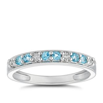 Sterling Silver Blue Topaz & Diamond Eternity Ring - Product number 5049393