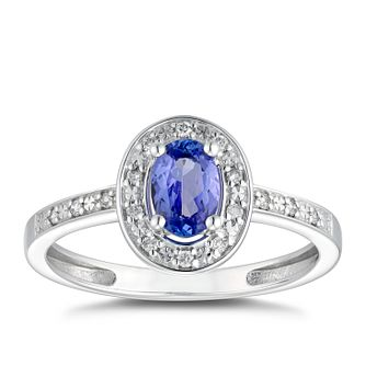 9ct White Gold Blue Oval Tanzanite Ring - Product number 5050081