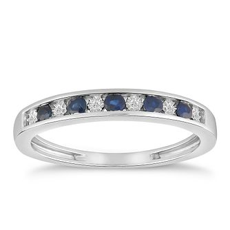 9ct White Gold Sapphire & Diamond Eternity Ring - Product number 5050243