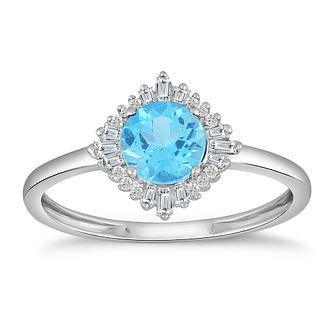 9ct White Gold Blue Topaz & 0.10ct Diamond Ring - Product number 5050391
