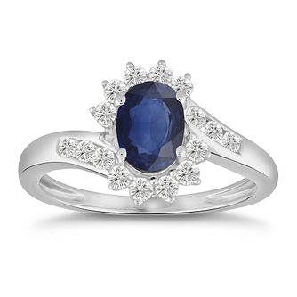 9ct White Gold Sapphire & 1/3ct Diamond Floral Ring - Product number 5050790