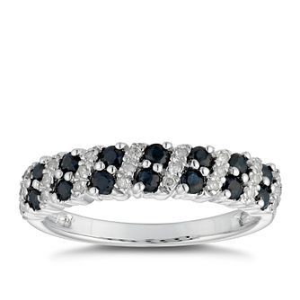 9ct White Gold Blue Sapphire 0.1ct Diamond Eternity Ring - Product number 5051134