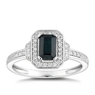9ct White Gold Sapphire And 0.15ct Diamond Ring - Product number 5051436