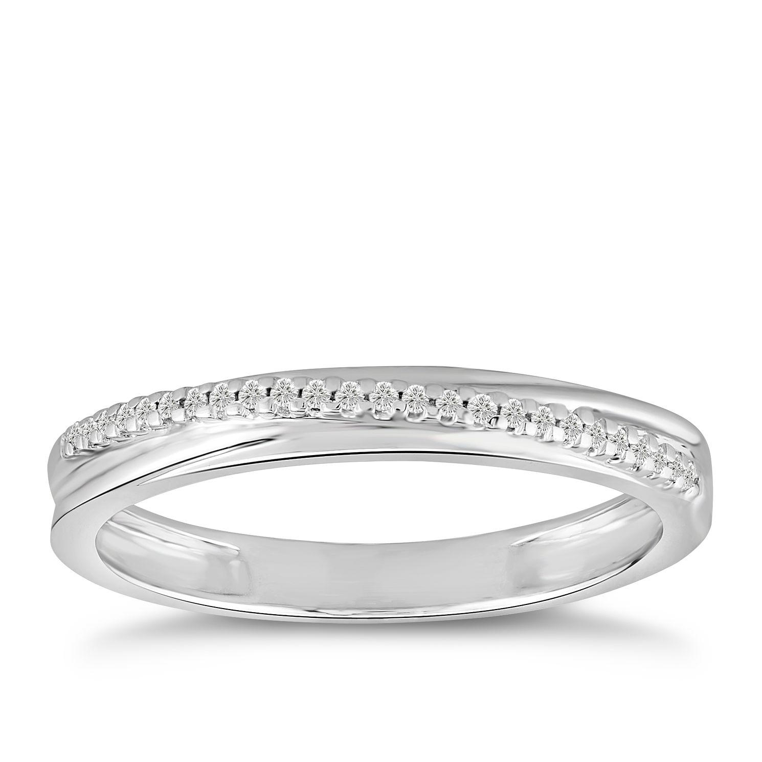 9ct White Gold Diamond Diagonal Row Ring - Product number 5051738