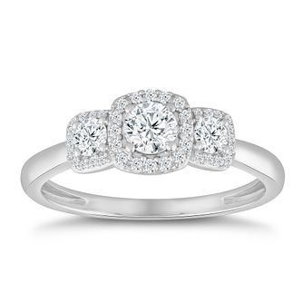 9ct White Gold & 1/2ct Diamond Trilogy Ring - Product number 5052211