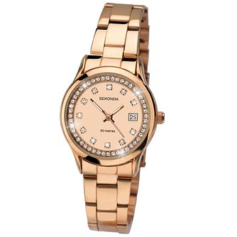 Sekonda Ladies' Stone Set Rose Gold-Plated Bracelet Watch - Product number 5052335