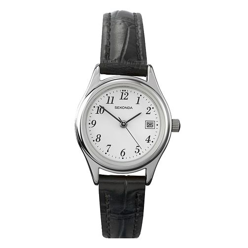 Sekonda White Dial Black Leather Strap Watch - Product number 5052351