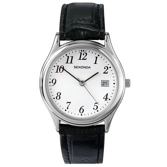 Sekonda White Dial Black Leather Strap Watch - Product number 5052556