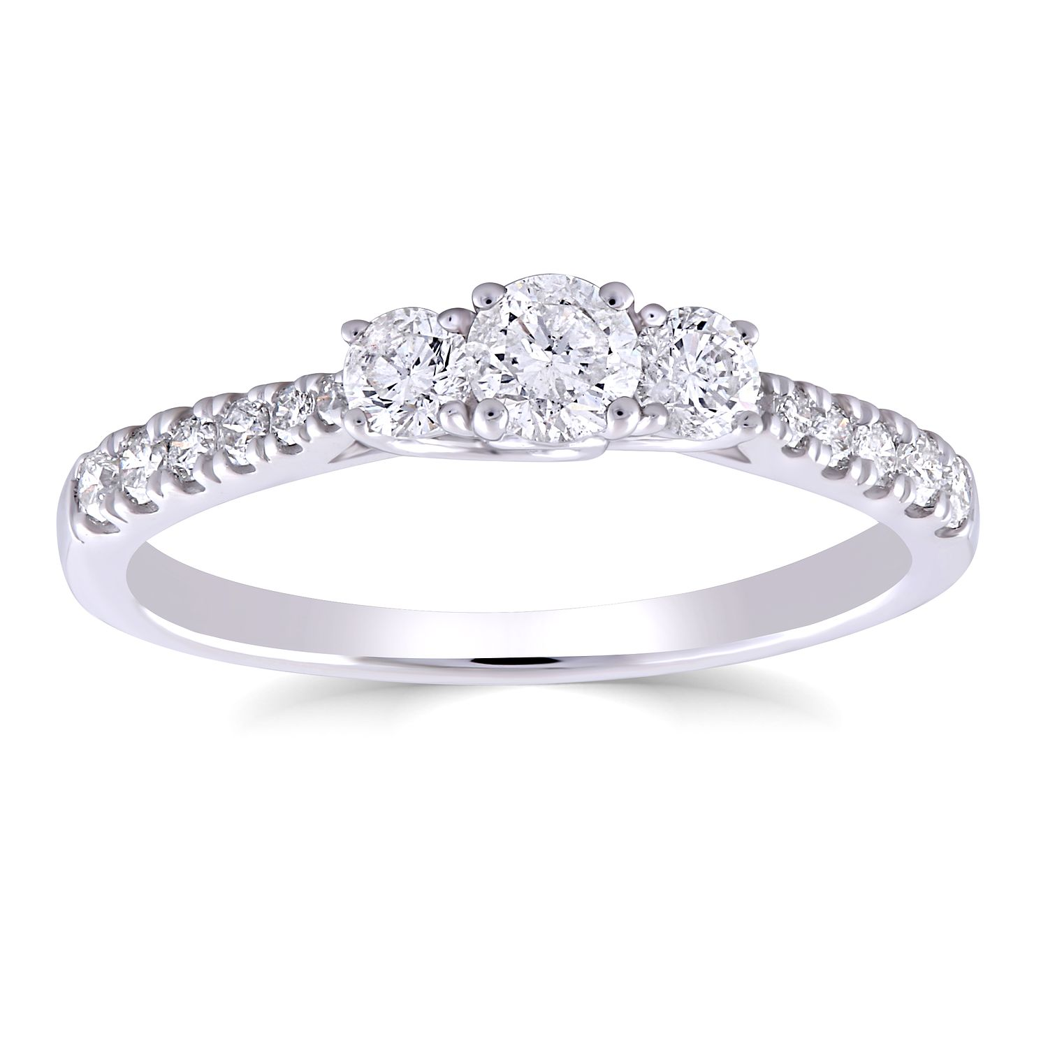 9ct White Gold 0.50ct Total Diamond Trilogy Ring - Product number 5053269