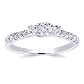 9ct White Gold 1/2ct Round Diamond Trilogy Ring - Product number 5053269
