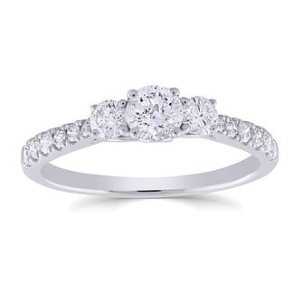 9ct White Gold 3/4ct Round Diamond Trilogy Ring - Product number 5053439