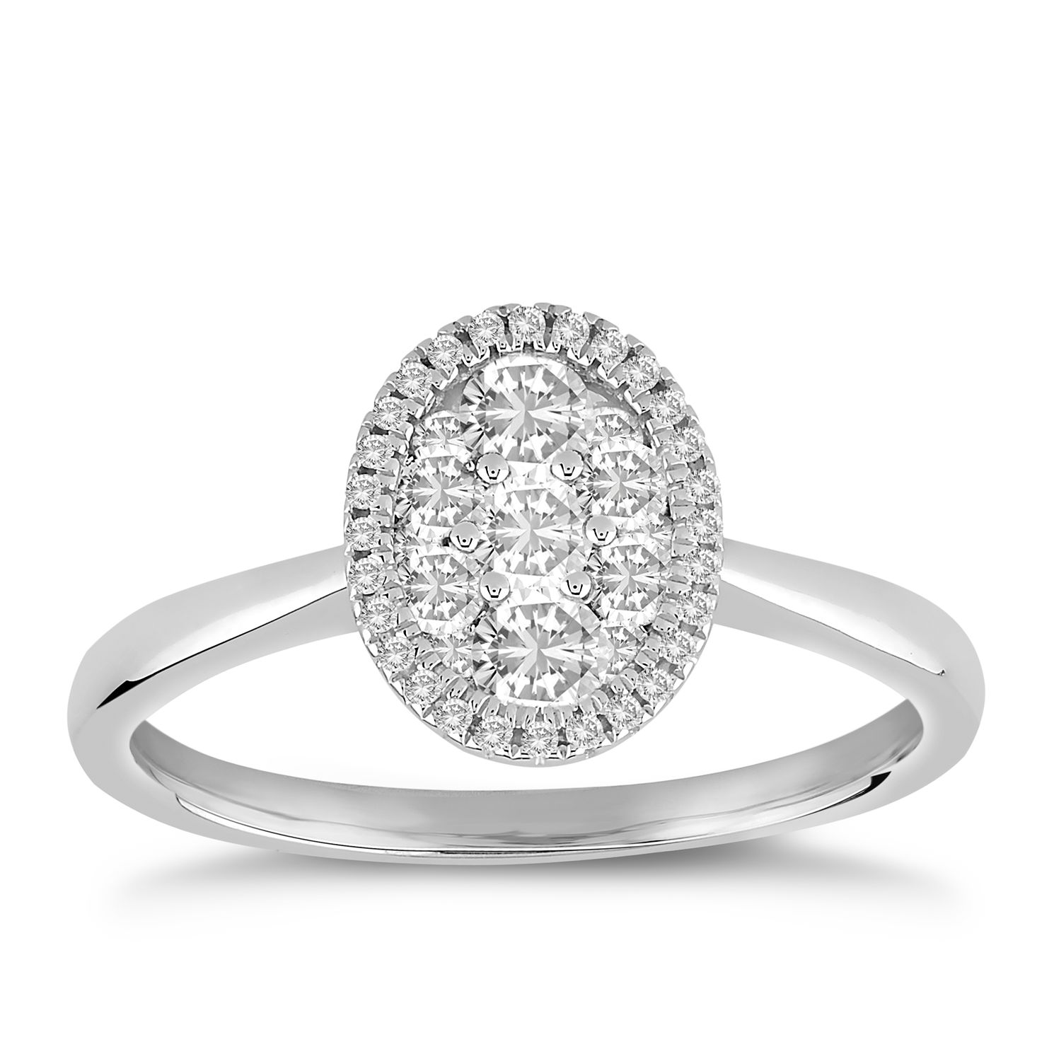 9ct White Gold 1/2ct Diamond Oval Cluster Ring - Product number 5054176