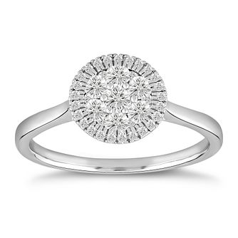 9ct White Gold & 1/2ct Diamond Round Cluster Ring - Product number 5054303