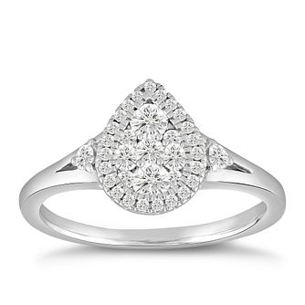 9ct White Gold 1/2ct Diamond Pear Cluster Ring - Product number 5054435
