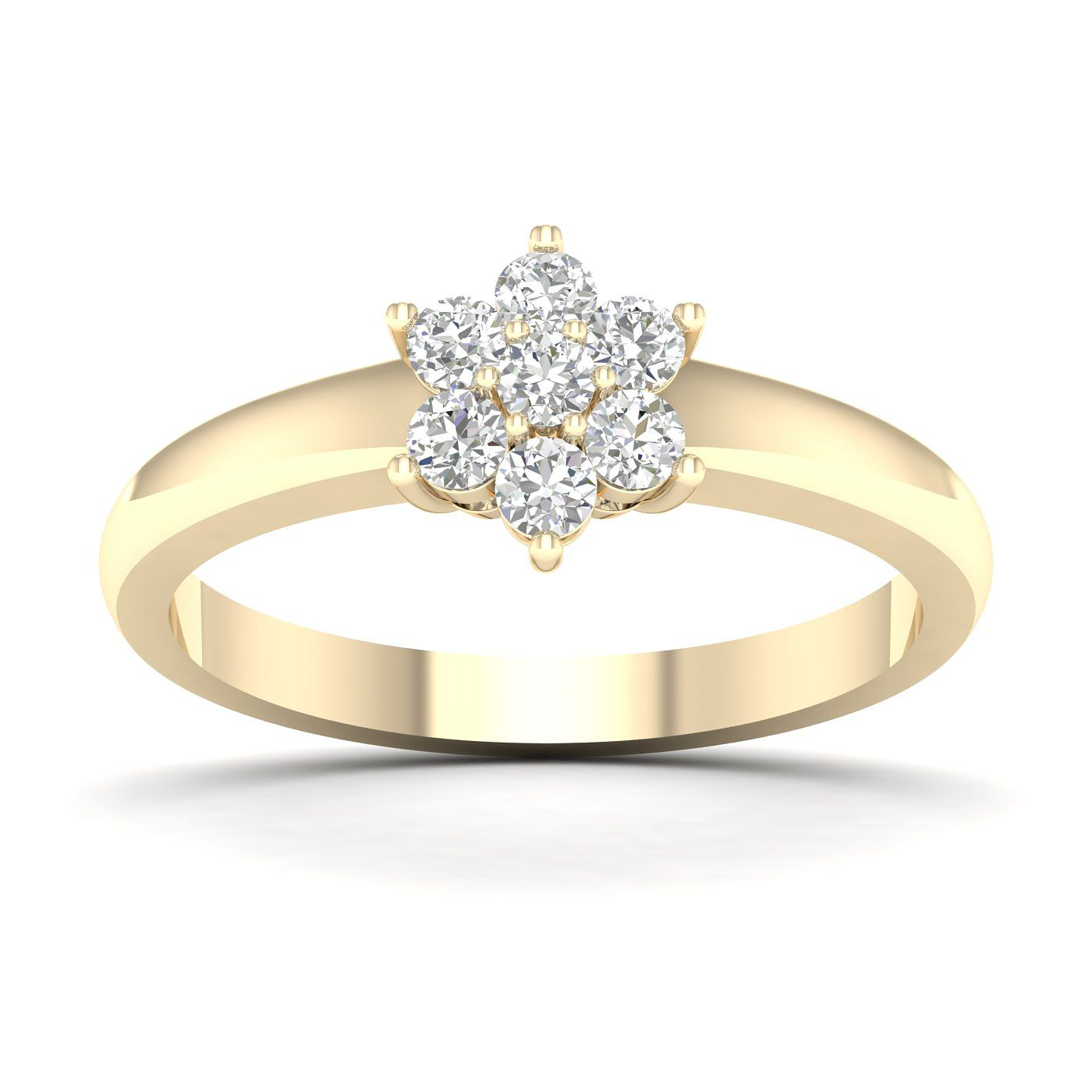 9ct Yellow Gold & 1/2ct Diamond Floral Cluster Ring - Product number 5054842