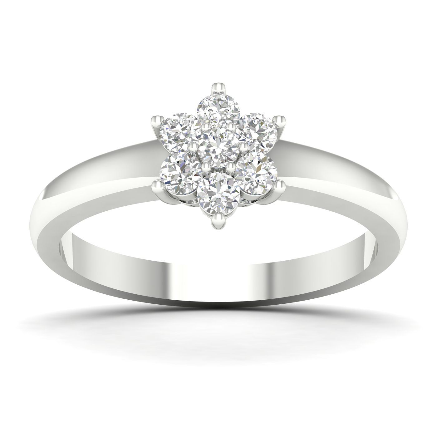 9ct White Gold 0.33ct Total Diamond Flower Cluster Ring - Product number 5054974