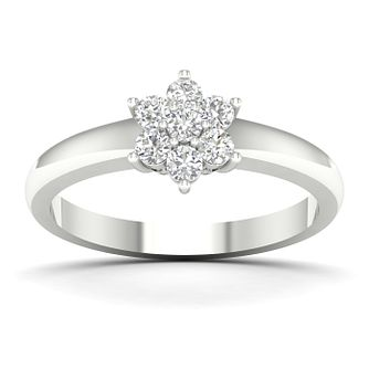 9ct White Gold 1/3ct Diamond Flower Cluster Ring - Product number 5054974