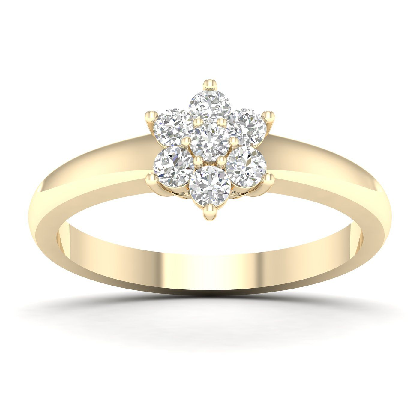 9ct Yellow Gold 1/3ct Diamond Flower Cluster Ring - Product number 5055180