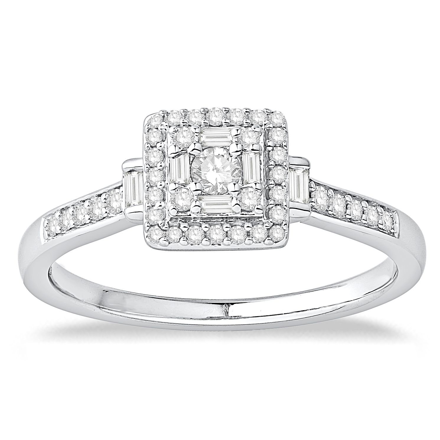 9ct White Gold 1/4ct Diamond Cluster Ring - Product number 5056209