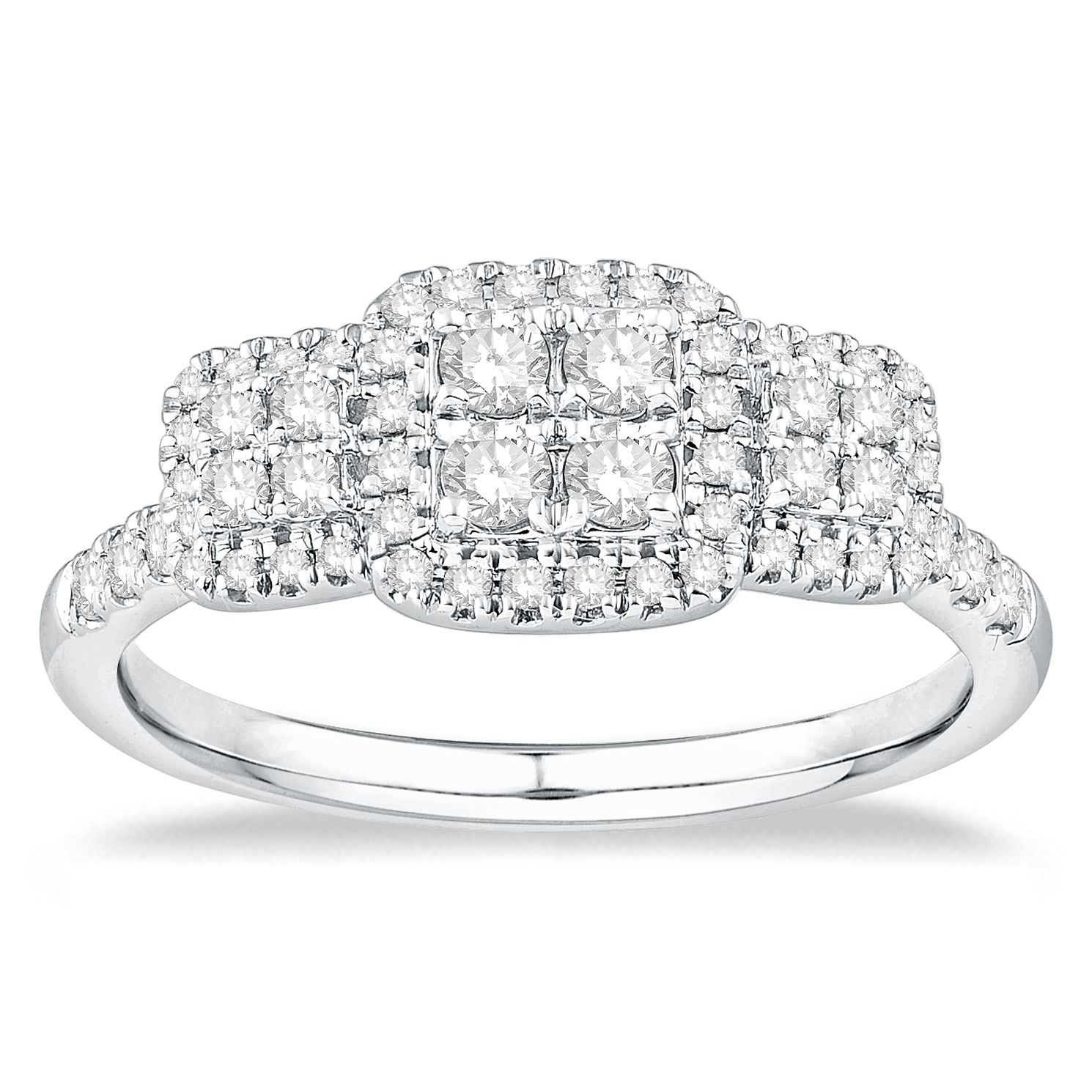 9ct White Gold 1/2ct Diamond Cluster Ring - Product number 5056357