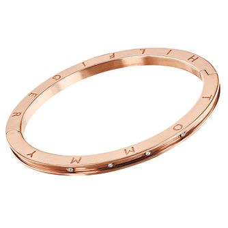 Tommy Hilfiger Rose Gold Tone Crystal Logo Bangle - Product number 5056640