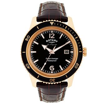 Rotary Ocean Avenger Men's Brown Leather Strap Watch - Product number 5057957