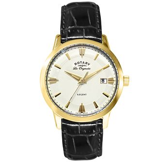 Rotary Les Originales Regent Men's Black Leather Strap Watch - Product number 5057973