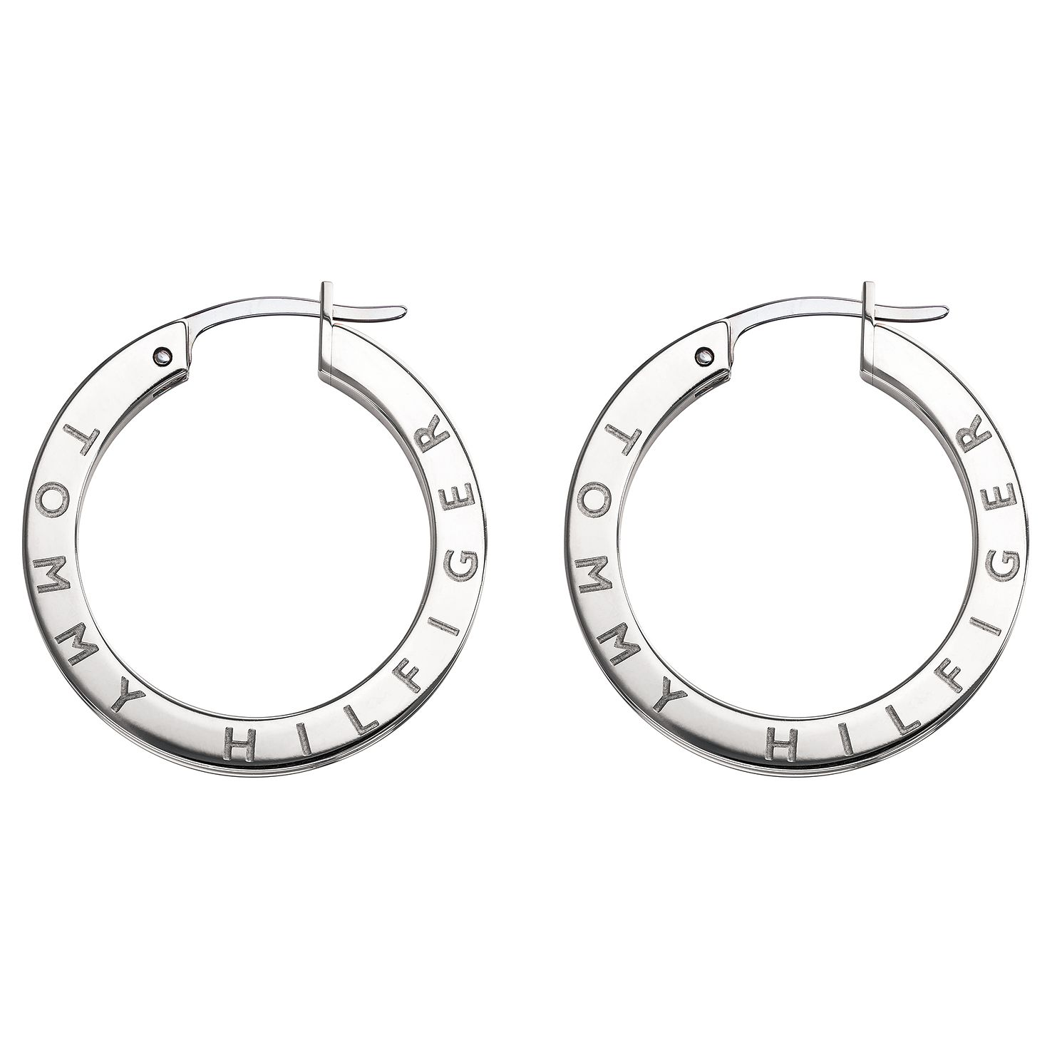 Tommy Hilfiger Stainless Steel Crystal Logo Hoop Earrings - Product number 5058104