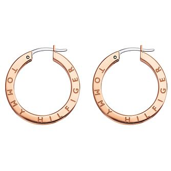 Tommy Hilfiger Rose Gold Tone Crystal Logo Hoop Earrings - Product number 5058112