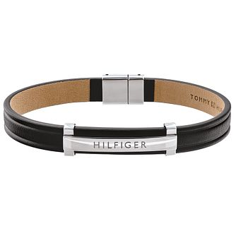 Tommy Hilfiger Black Leather & Stainless Steel Logo Bracelet - Product number 5058147