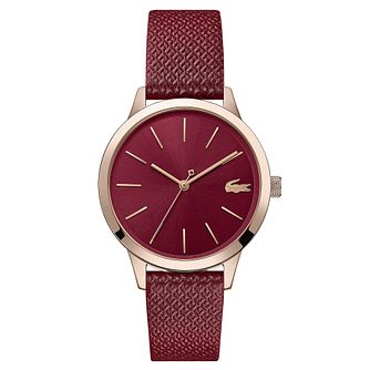 Lacoste 12.12 Ladies' Red Leather Strap Watch - Product number 5058309