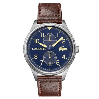 Lacoste Continental Men's Brown Leather Strap Watch - Product number 5058430