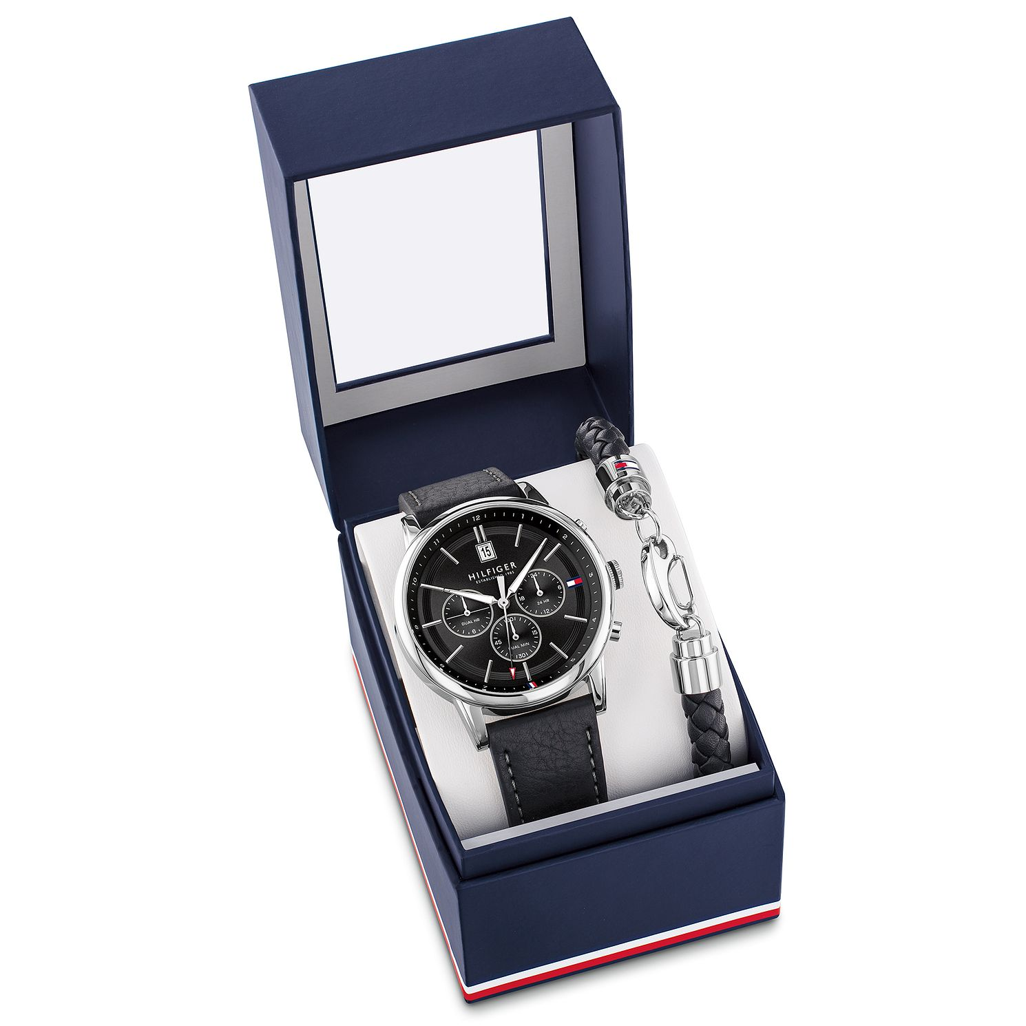 Tommy Hilfiger Men's Black Leather Watch & Bracelet Gift Set - Product number 5058503