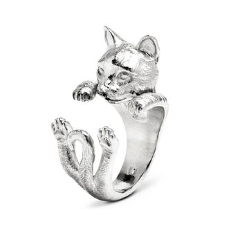 Cat Fever Silver European Tiger Hug Ring - M - Product number 5059011