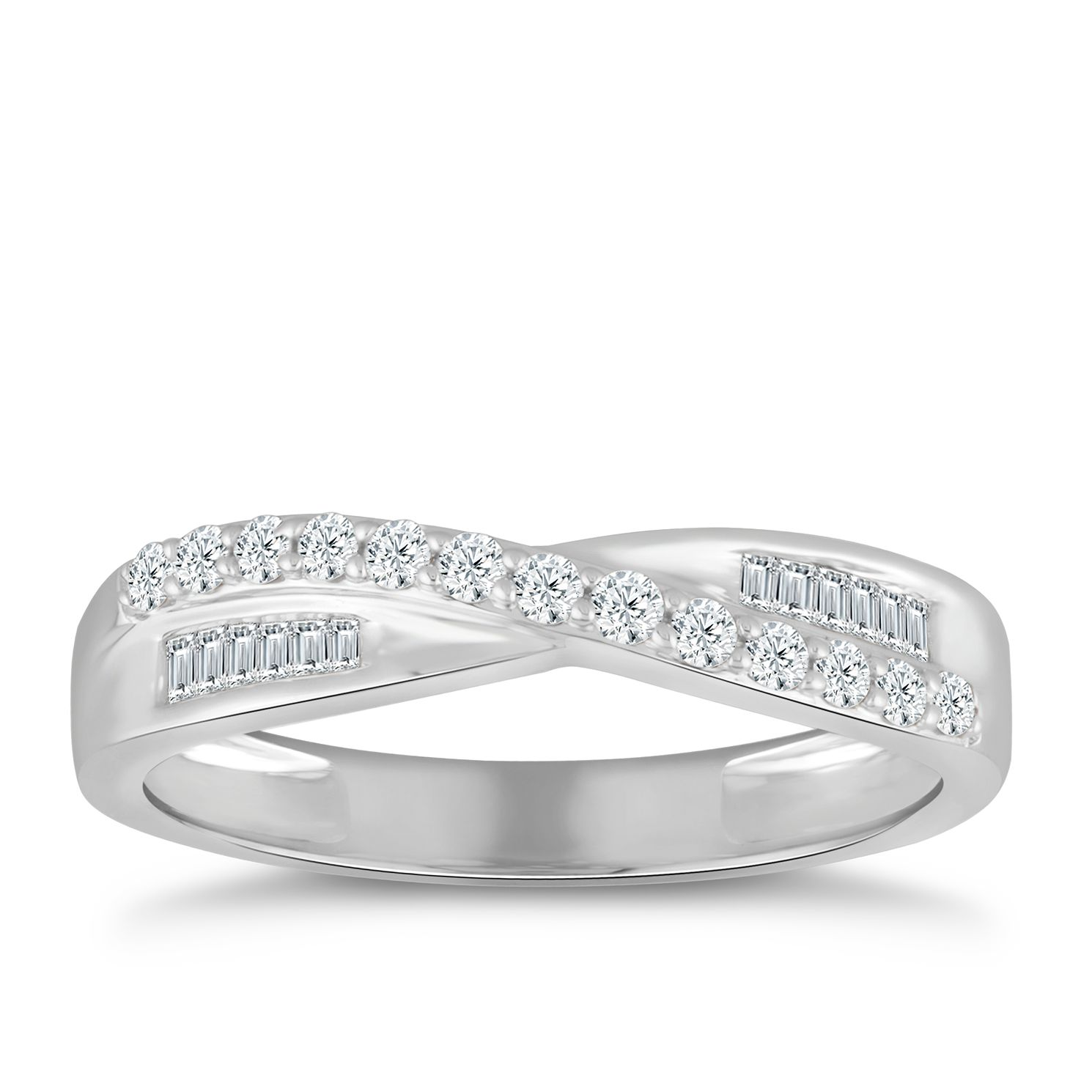 9ct White Gold 1/4ct Diamond Crossover Eternity Ring - Product number 5059364