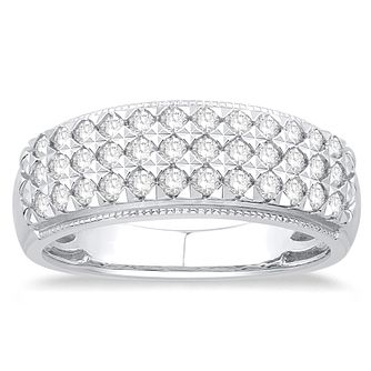 9ct White Gold 1/2ct Triple Row Diamond Eternity Ring - Product number 5060184