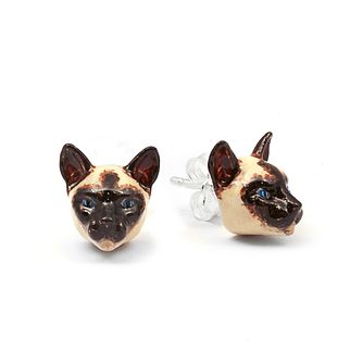 Cat Fever Siamese Muzzle Stud Earrings - Product number 5060206