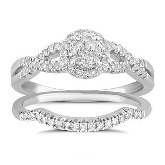 Perfect Fit 9ct White Gold 1/3ct Pave Diamond Bridal Set - Product number 5060478