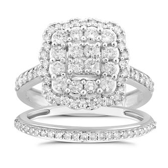 Perfect Fit 18ct White Gold 1ct Total Diamond Bridal Set - Product number 5060591