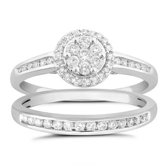 Perfect Fit 9ct White Gold 1/2ct Diamond Halo Bridal Set - Product number 5060869