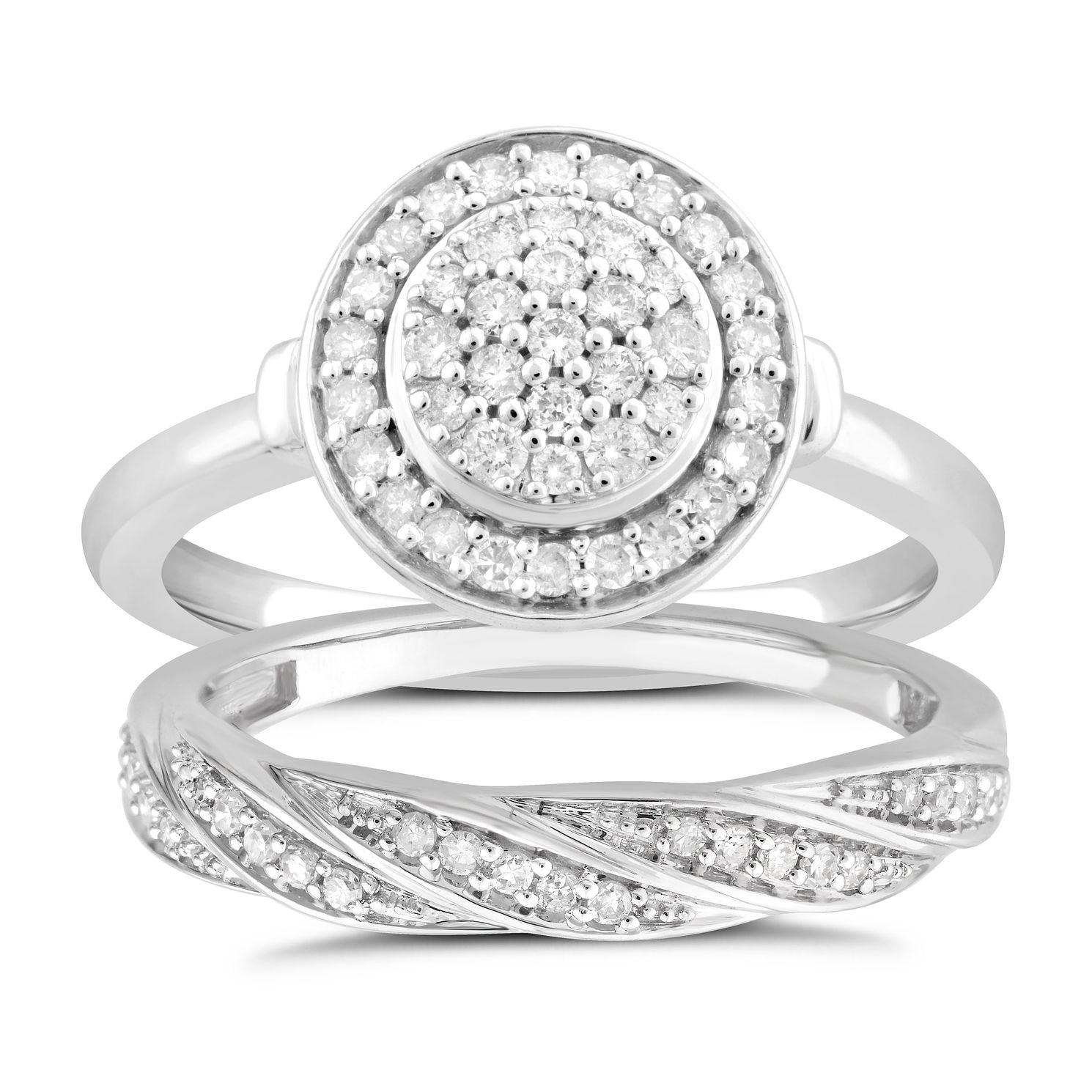 Perfect Fit 9ct White Gold 0.40ct Total Diamond Bridal Set - Product number 5061059