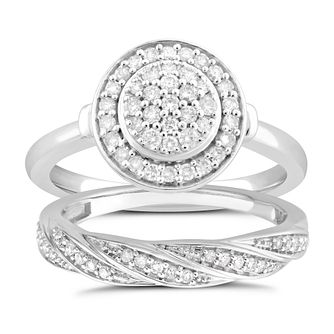 Perfect Fit 9ct White Gold 0.40ct Pave Diamond Bridal Set - Product number 5061059