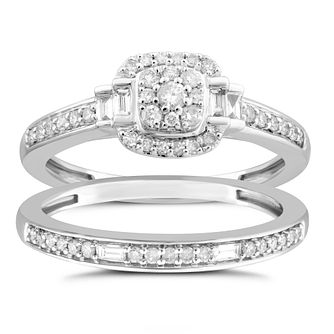 Perfect Fit 9ct Platinum & 1/2ct Round Diamond Bridal Set - Product number 5061334