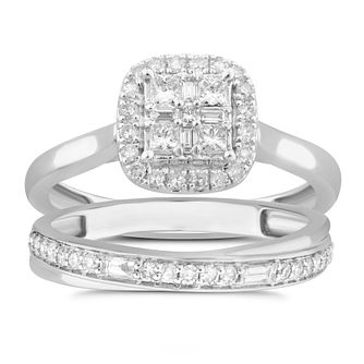 Perfect Fit 9ct White Gold 1/2ct Diamond Quartet Bridal Set - Product number 5061482