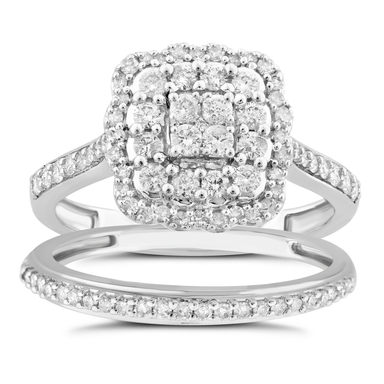 Perfect Fit 18ct White Gold & 2/3ct Pave Bridal Set - Product number 5061628