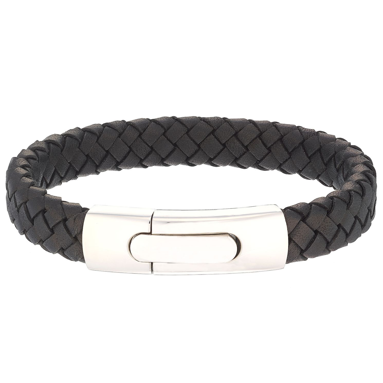 Men's Black Leather Stainless Steel 12mm Bracelet - Product number 5062020